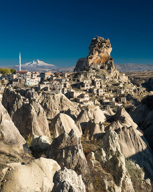 Ortahisar Rock Castle in Cappadocia, Turkey