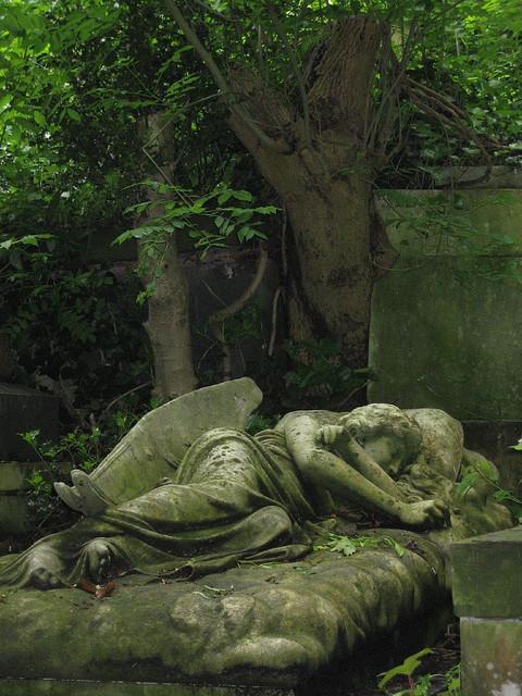Sleeping angel at Highgate Cemetery in London, England