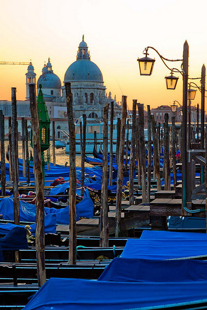Gondolas at sunset in Venice, Italy