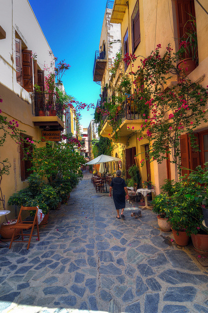 Picturesque alleyways of Chania on Crete Island, Greece