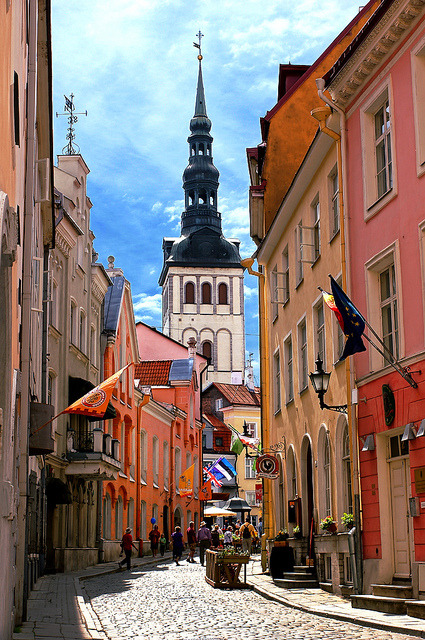 Street view of the old town in Tallinn, Estonia