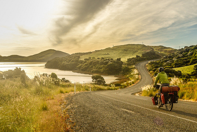 Cycling near Curio Bay, South Island, New Zealand
