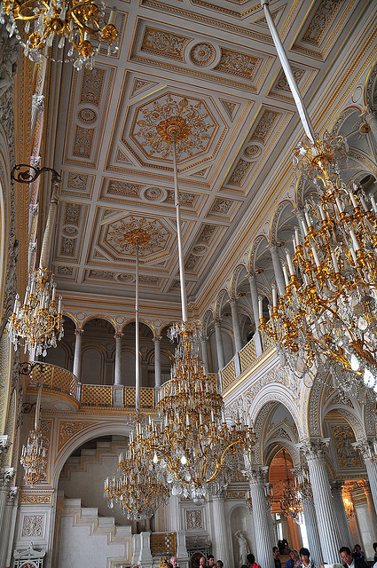 Ceiling inside The Hermitage Museum in St. Petersburg, Russia
