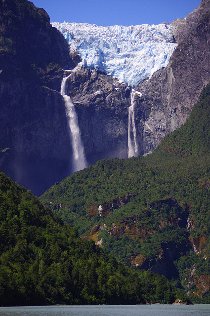 Waterfalls from the Hanging Glacier in Queulat / Chile
