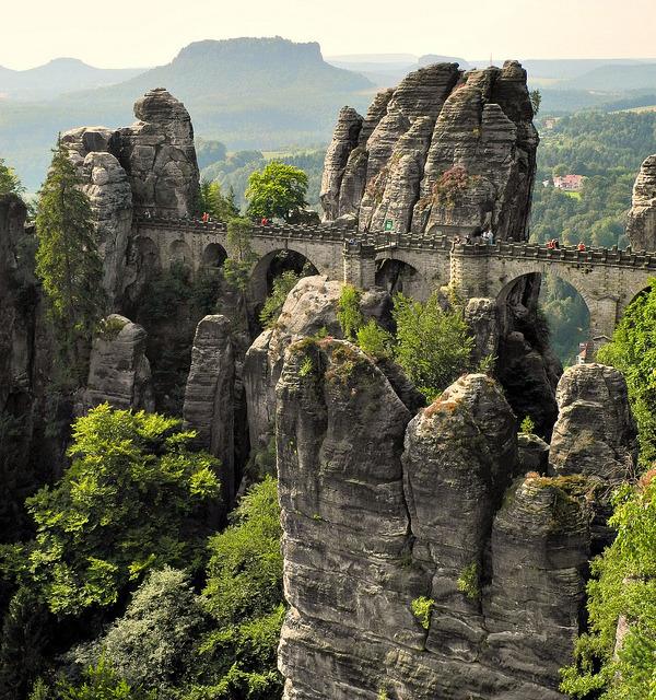 The Bastei Bridge in the Elbe Sandstone Mountains / Germany